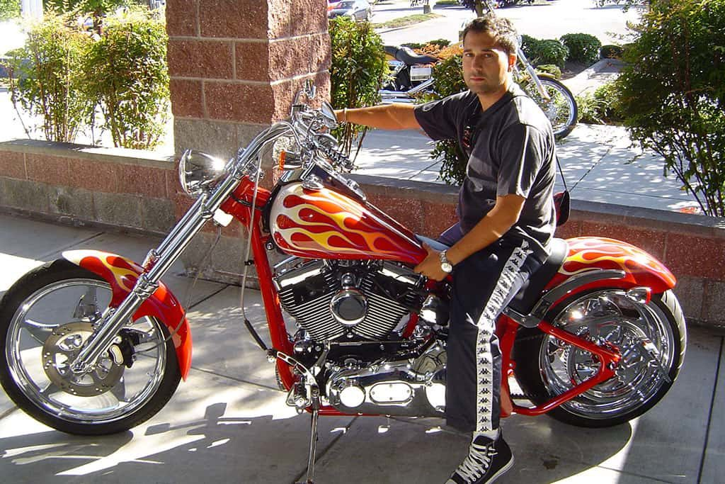 Fran Manen with one of his first custom motorcycles