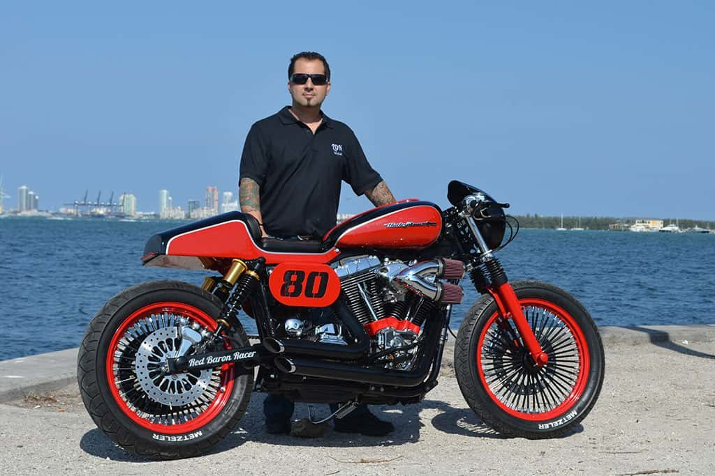 "Fran Manen in Miami with his ""Red Baron"""