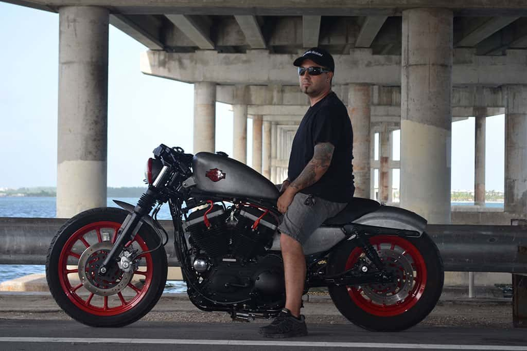 Fran Manen in Miami with one of his custom motorcycles
